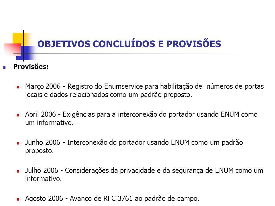OBJETIVOS CONCLUÍDOS E PROVISÕES Provisões: Março 2006 - Registro do Enumservice para habilitação de números de portas locais e dados relacionados com