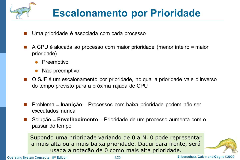 5.23 Silberschatz, Galvin and Gagne ©2009 Operating System Concepts – 8 th Edition Escalonamento por Prioridade Uma prioridade é associada com cada pr
