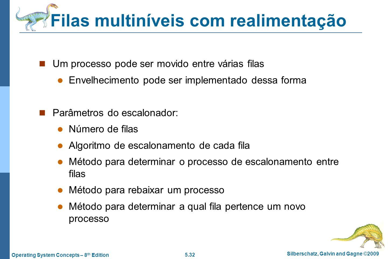 5.32 Silberschatz, Galvin and Gagne ©2009 Operating System Concepts – 8 th Edition Filas multiníveis com realimentação Um processo pode ser movido ent