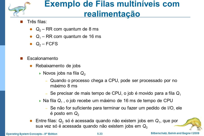 5.33 Silberschatz, Galvin and Gagne ©2009 Operating System Concepts – 8 th Edition Exemplo de Filas multiníveis com realimentação Três filas: Q 0 – RR