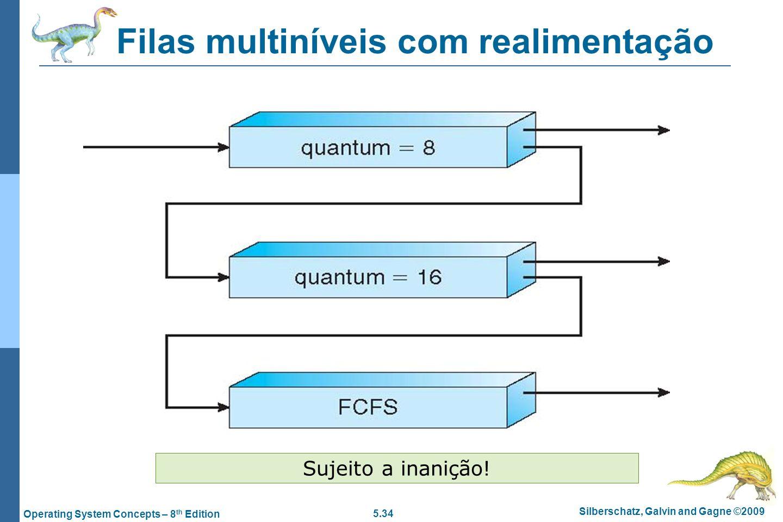 5.34 Silberschatz, Galvin and Gagne ©2009 Operating System Concepts – 8 th Edition Filas multiníveis com realimentação Sujeito a inanição!