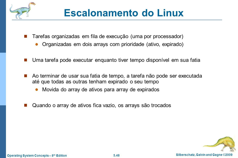 5.48 Silberschatz, Galvin and Gagne ©2009 Operating System Concepts – 8 th Edition Escalonamento do Linux Tarefas organizadas em fila de execução (uma