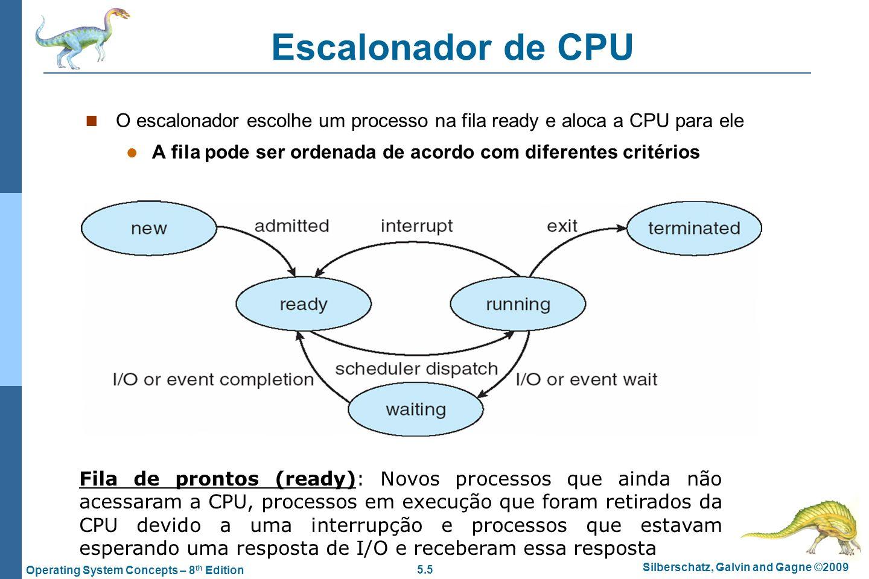 5.5 Silberschatz, Galvin and Gagne ©2009 Operating System Concepts – 8 th Edition Escalonador de CPU O escalonador escolhe um processo na fila ready e