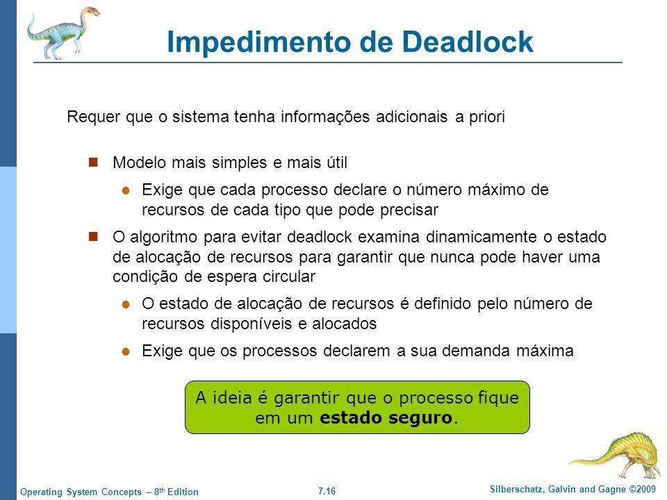7.16 Silberschatz, Galvin and Gagne ©2009 Operating System Concepts – 8 th Edition Impedimento de Deadlock Modelo mais simples e mais útil Exige que c