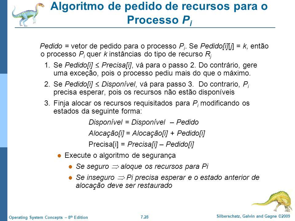 7.28 Silberschatz, Galvin and Gagne ©2009 Operating System Concepts – 8 th Edition Algoritmo de pedido de recursos para o Processo P i Pedido = vetor
