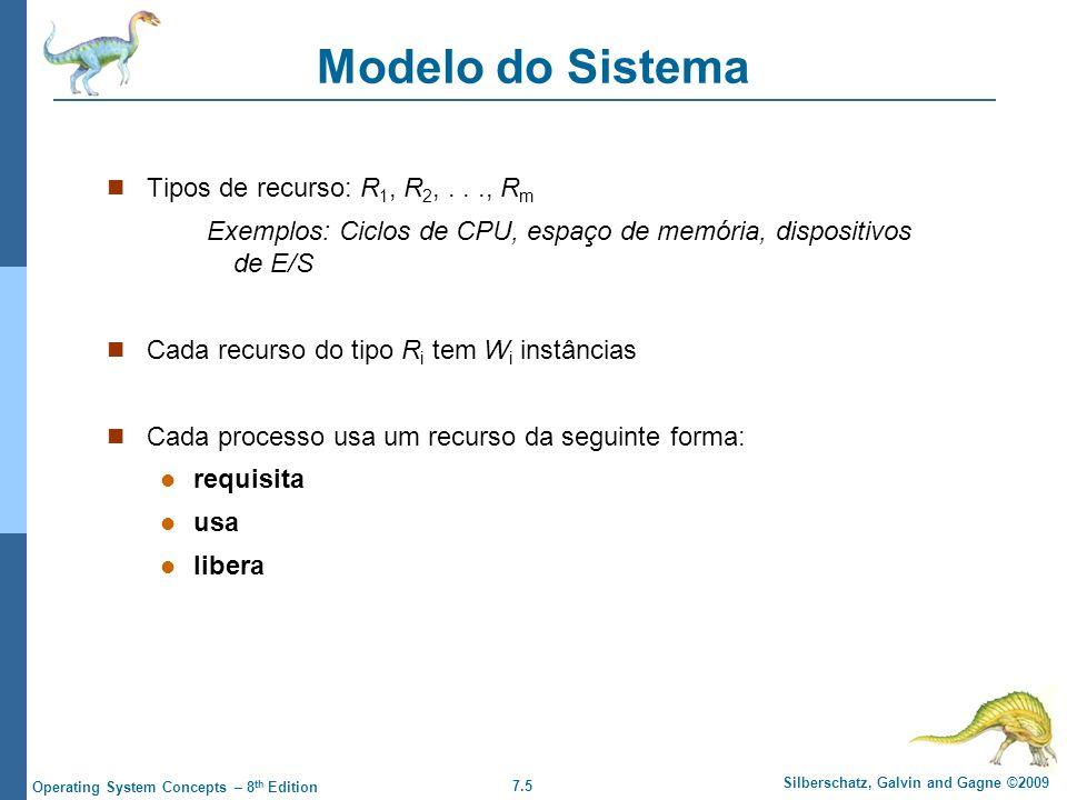 7.5 Silberschatz, Galvin and Gagne ©2009 Operating System Concepts – 8 th Edition Modelo do Sistema Tipos de recurso: R 1, R 2,..., R m Exemplos: Cicl
