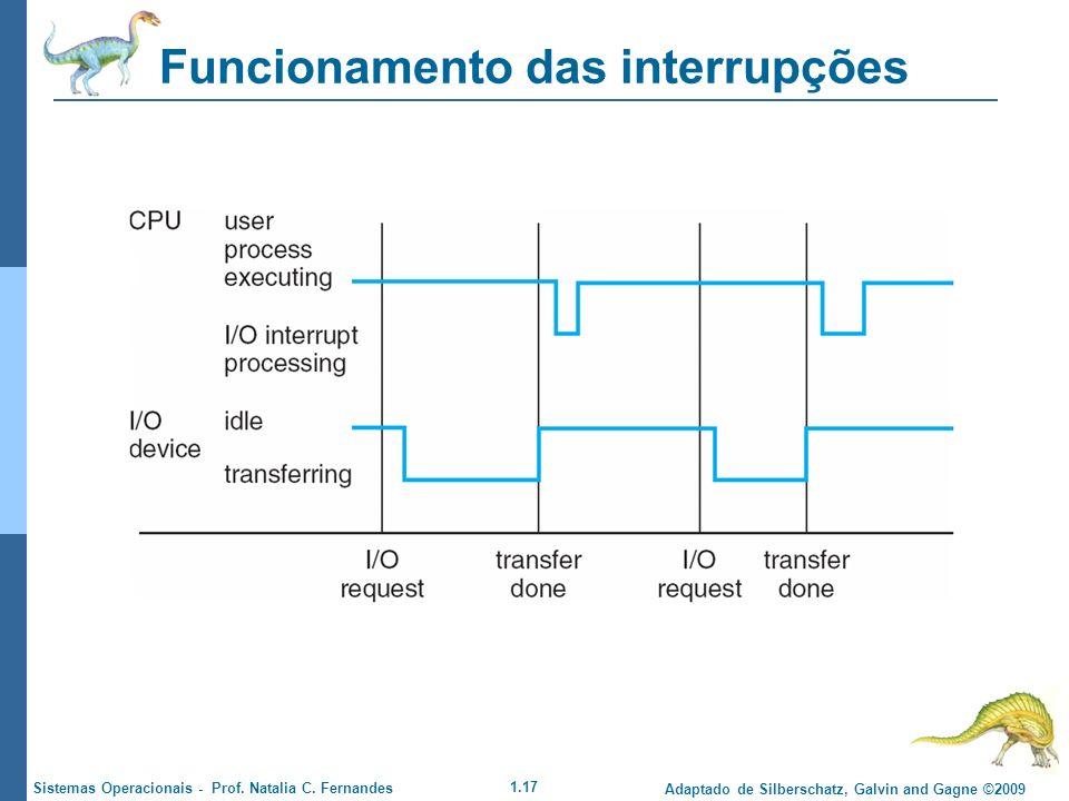 1.17 Adaptado de Silberschatz, Galvin and Gagne ©2009 Sistemas Operacionais - Prof. Natalia C. Fernandes Funcionamento das interrupções
