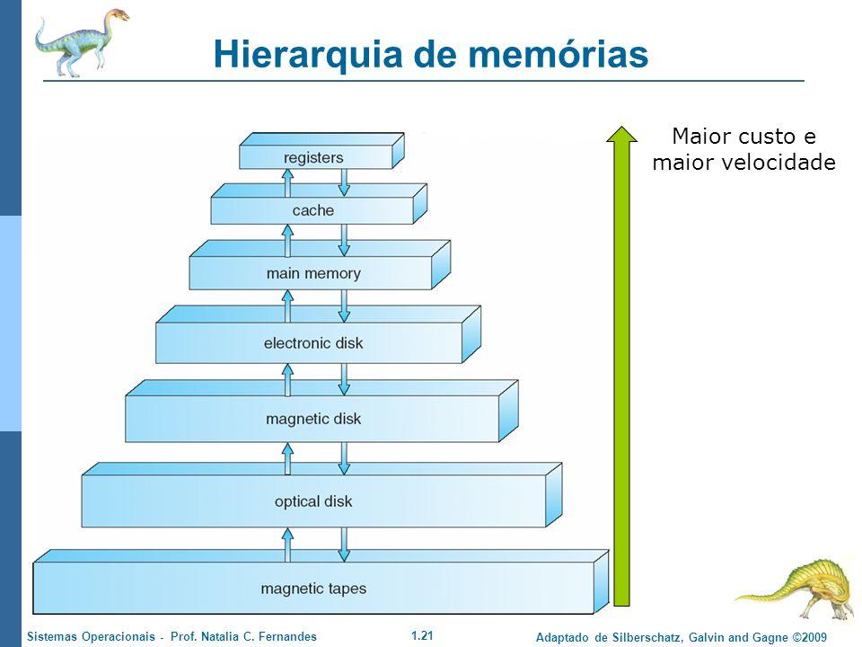 1.21 Adaptado de Silberschatz, Galvin and Gagne ©2009 Sistemas Operacionais - Prof. Natalia C. Fernandes Hierarquia de memórias Maior custo e maior ve