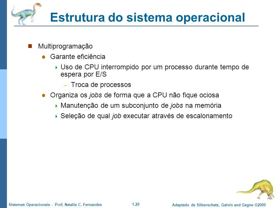 1.29 Adaptado de Silberschatz, Galvin and Gagne ©2009 Sistemas Operacionais - Prof. Natalia C. Fernandes Estrutura do sistema operacional Multiprogram