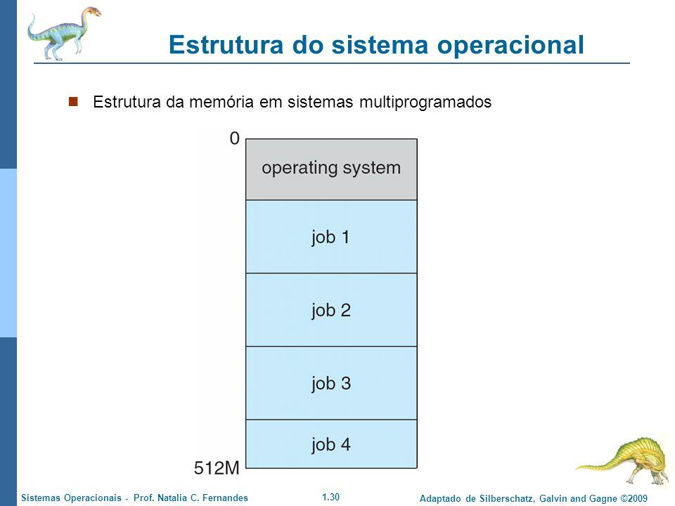 1.30 Adaptado de Silberschatz, Galvin and Gagne ©2009 Sistemas Operacionais - Prof. Natalia C. Fernandes Estrutura do sistema operacional Estrutura da