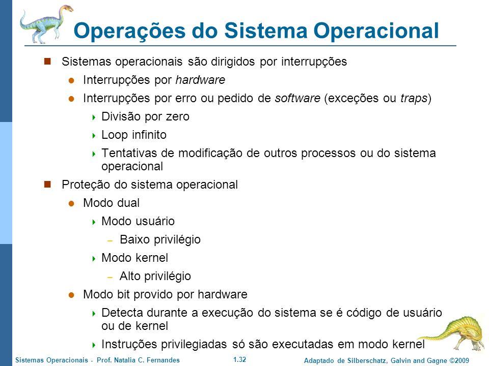 1.32 Adaptado de Silberschatz, Galvin and Gagne ©2009 Sistemas Operacionais - Prof. Natalia C. Fernandes Operações do Sistema Operacional Sistemas ope