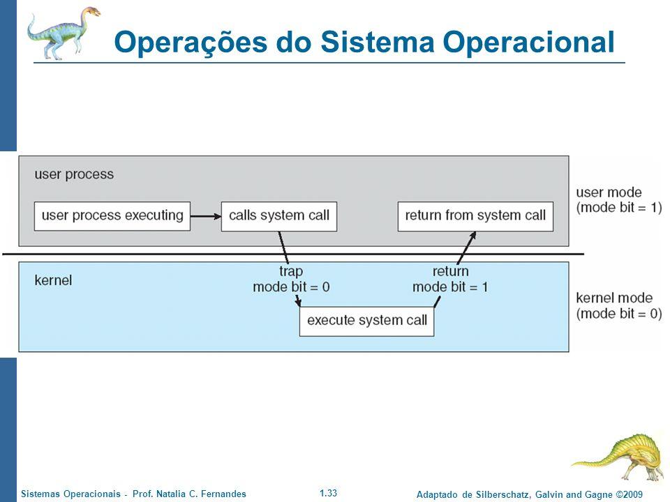 1.33 Adaptado de Silberschatz, Galvin and Gagne ©2009 Sistemas Operacionais - Prof. Natalia C. Fernandes Operações do Sistema Operacional