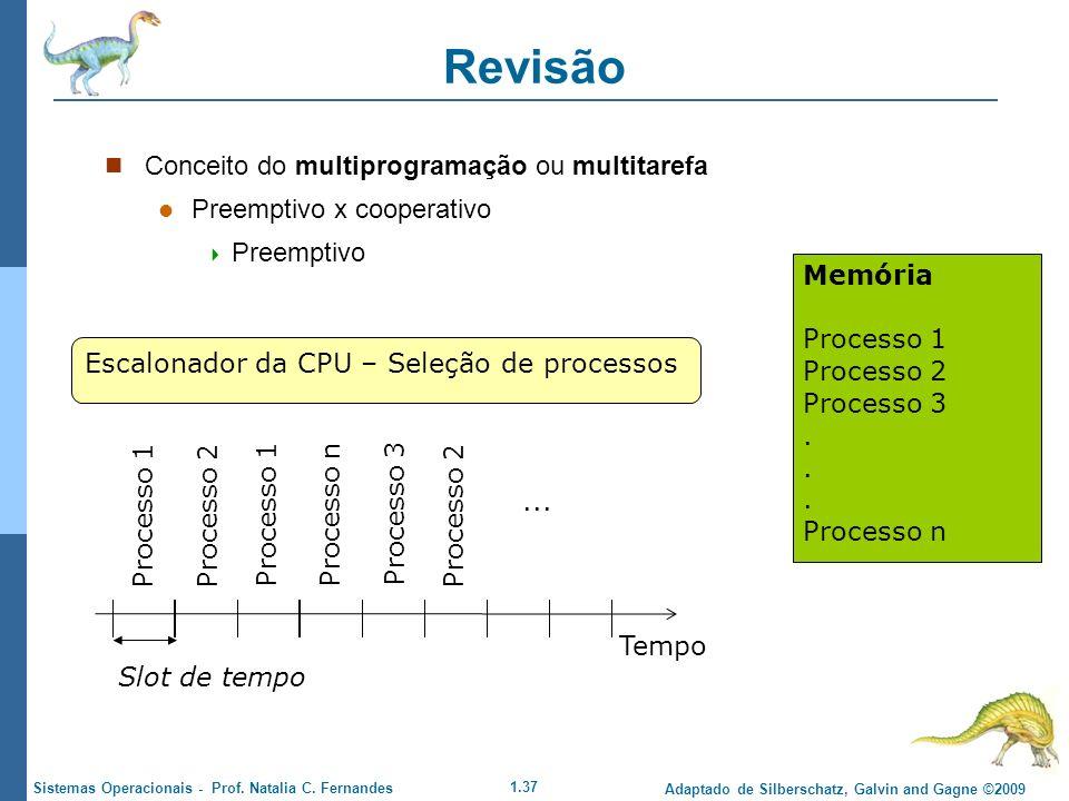 1.37 Adaptado de Silberschatz, Galvin and Gagne ©2009 Sistemas Operacionais - Prof. Natalia C. Fernandes Revisão Conceito do multiprogramação ou multi