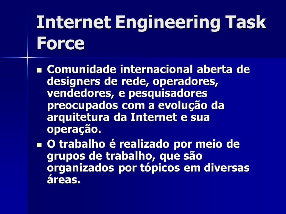 Internet Engineering Task Force Comunidade internacional aberta de designers de rede, operadores, vendedores, e pesquisadores preocupados com a evolução da arquitetura da Internet e sua operação.