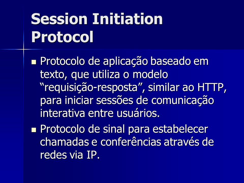 Session Initiation Protocol Protocolo de aplicação baseado em texto, que utiliza o modelo requisição-resposta, similar ao HTTP, para iniciar sessões de comunicação interativa entre usuários.