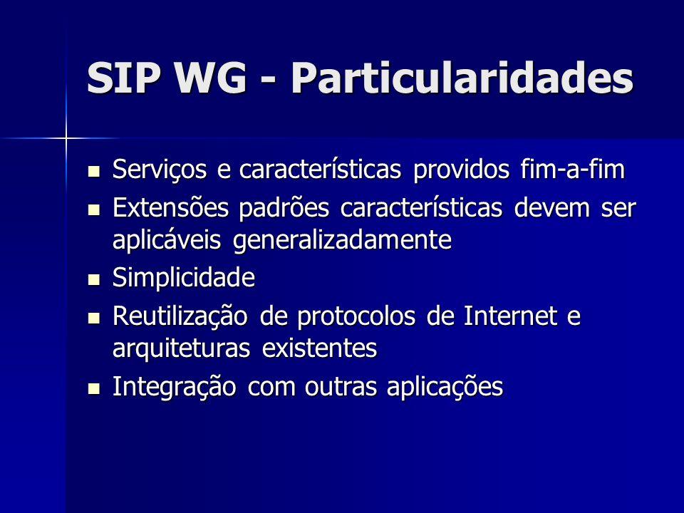 SIP WG - Particularidades Serviços e características providos fim-a-fim Serviços e características providos fim-a-fim Extensões padrões características devem ser aplicáveis generalizadamente Extensões padrões características devem ser aplicáveis generalizadamente Simplicidade Simplicidade Reutilização de protocolos de Internet e arquiteturas existentes Reutilização de protocolos de Internet e arquiteturas existentes Integração com outras aplicações Integração com outras aplicações