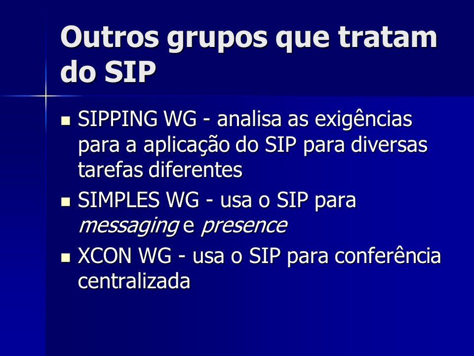 Outros grupos que tratam do SIP SIPPING WG - analisa as exigências para a aplicação do SIP para diversas tarefas diferentes SIPPING WG - analisa as exigências para a aplicação do SIP para diversas tarefas diferentes SIMPLES WG - usa o SIP para messaging e presence SIMPLES WG - usa o SIP para messaging e presence XCON WG - usa o SIP para conferência centralizada XCON WG - usa o SIP para conferência centralizada
