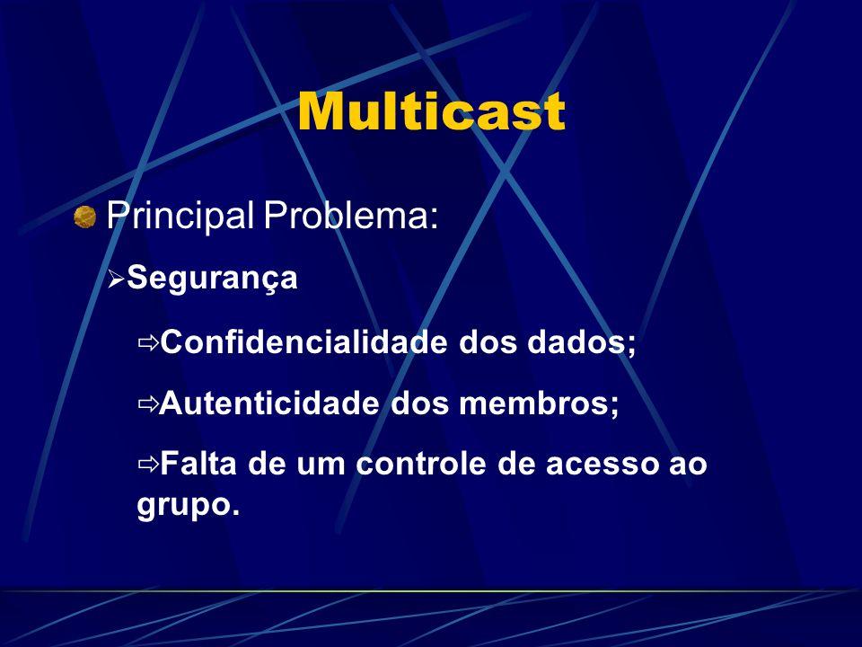 Multicast Principal Problema: Confidencialidade dos dados; Autenticidade dos membros; Falta de um controle de acesso ao grupo. Segurança