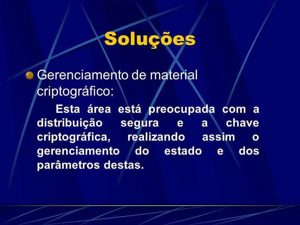 Soluções Gerenciamento de material criptográfico: Esta área está preocupada com a distribuição segura e a chave criptográfica, realizando assim o gere