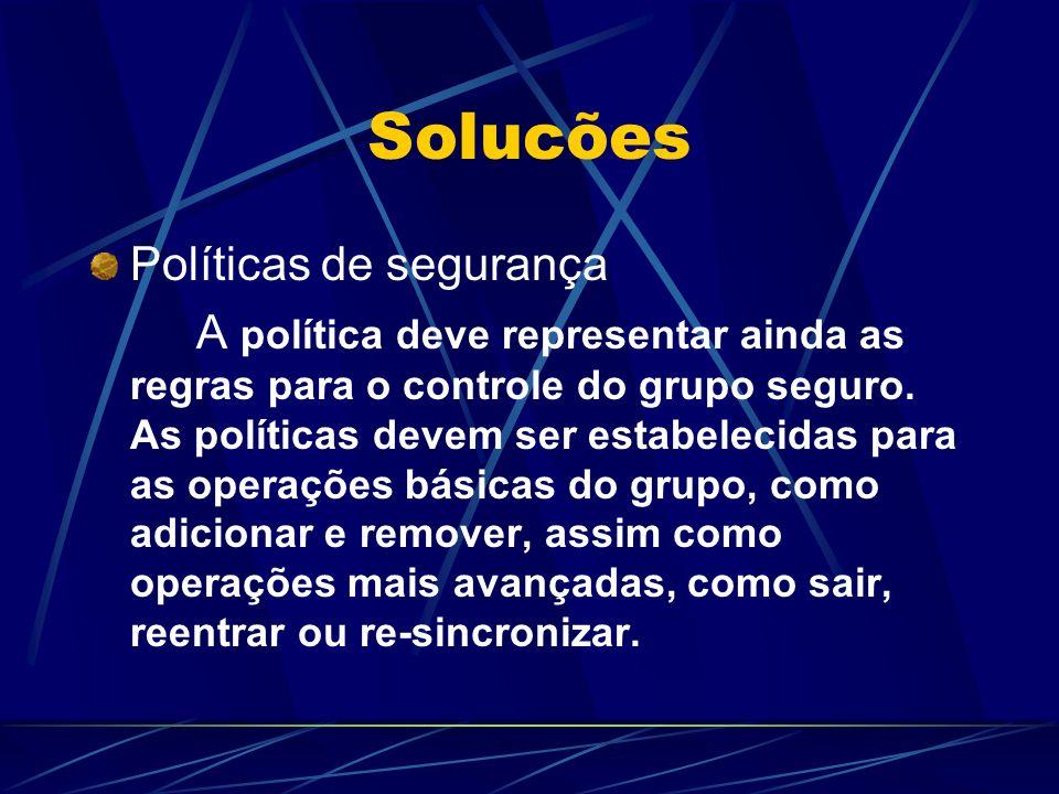 Solucões Políticas de segurança A política deve representar ainda as regras para o controle do grupo seguro. As políticas devem ser estabelecidas para