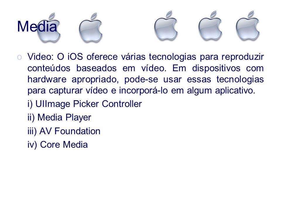 Media oVideo: O iOS oferece várias tecnologias para reproduzir conteúdos baseados em vídeo. Em dispositivos com hardware apropriado, pode-se usar essa