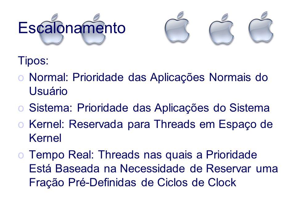 Escalonamento Tipos: oNormal: Prioridade das Aplicações Normais do Usuário oSistema: Prioridade das Aplicações do Sistema oKernel: Reservada para Thre
