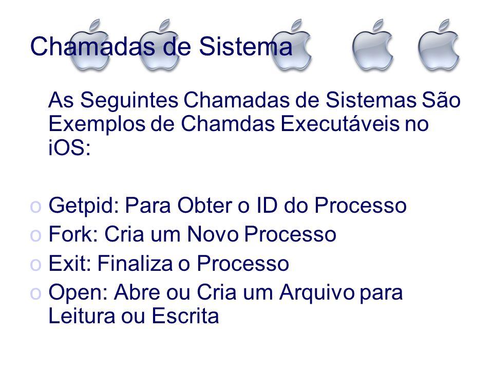 Chamadas de Sistema As Seguintes Chamadas de Sistemas São Exemplos de Chamdas Executáveis no iOS: oGetpid: Para Obter o ID do Processo oFork: Cria um