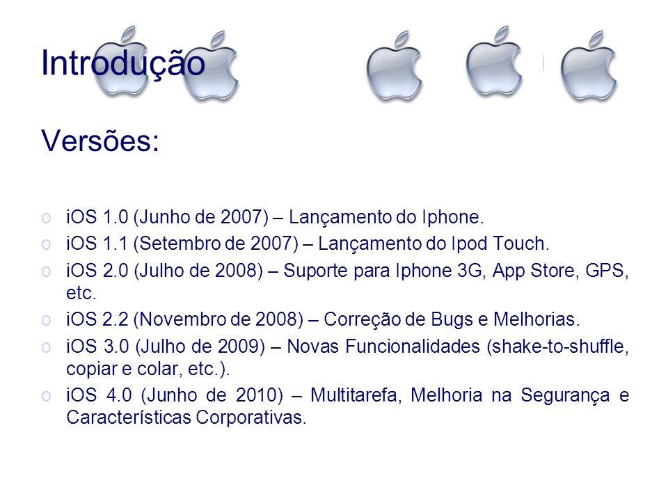 Introdução Versões: oiOS 1.0 (Junho de 2007) – Lançamento do Iphone. oiOS 1.1 (Setembro de 2007) – Lançamento do Ipod Touch. oiOS 2.0 (Julho de 2008)
