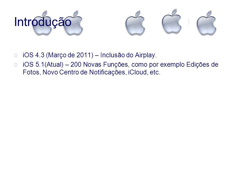 Introdução oiOS 4.3 (Março de 2011) – Inclusão do Airplay. oiOS 5.1(Atual) – 200 Novas Funções, como por exemplo Edições de Fotos, Novo Centro de Noti
