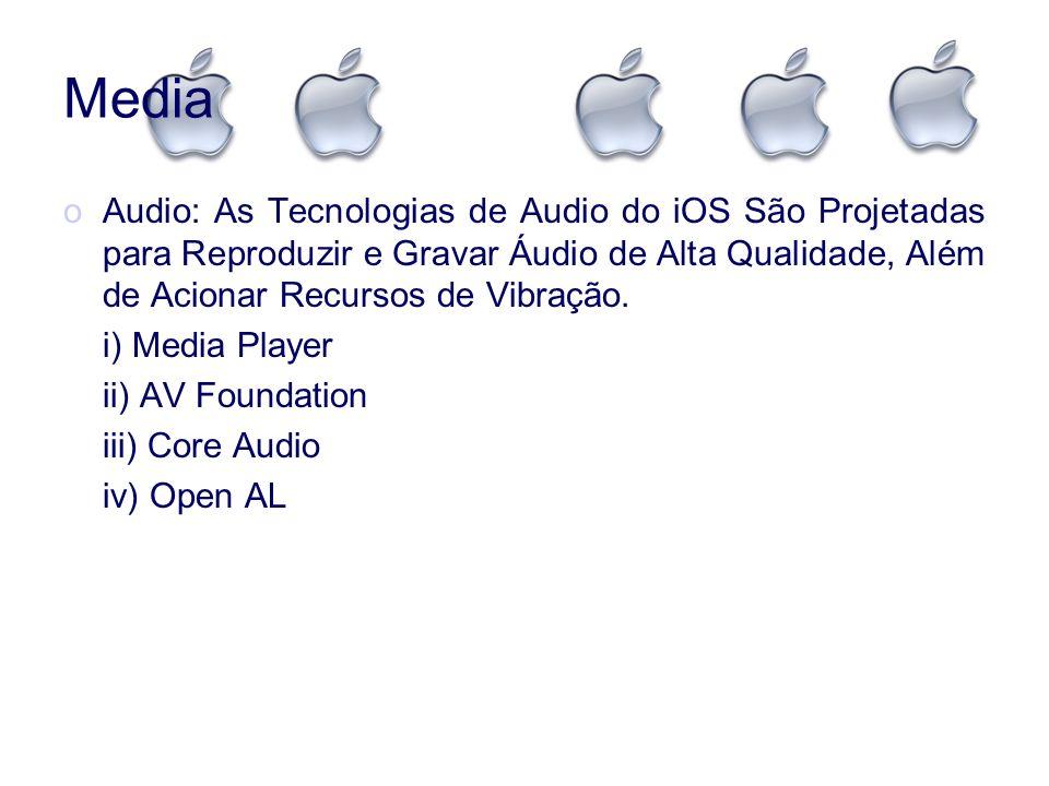 Media oAudio: As Tecnologias de Audio do iOS São Projetadas para Reproduzir e Gravar Áudio de Alta Qualidade, Além de Acionar Recursos de Vibração. i)