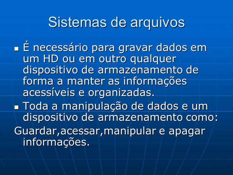 Sistemas de arquivos É necessário para gravar dados em um HD ou em outro qualquer dispositivo de armazenamento de forma a manter as informações acessí