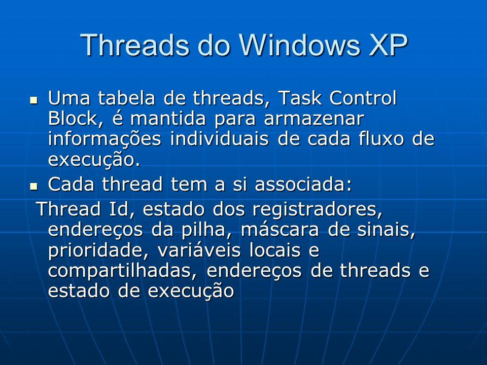 Threads do Windows XP Uma tabela de threads, Task Control Block, é mantida para armazenar informações individuais de cada fluxo de execução. Uma tabel