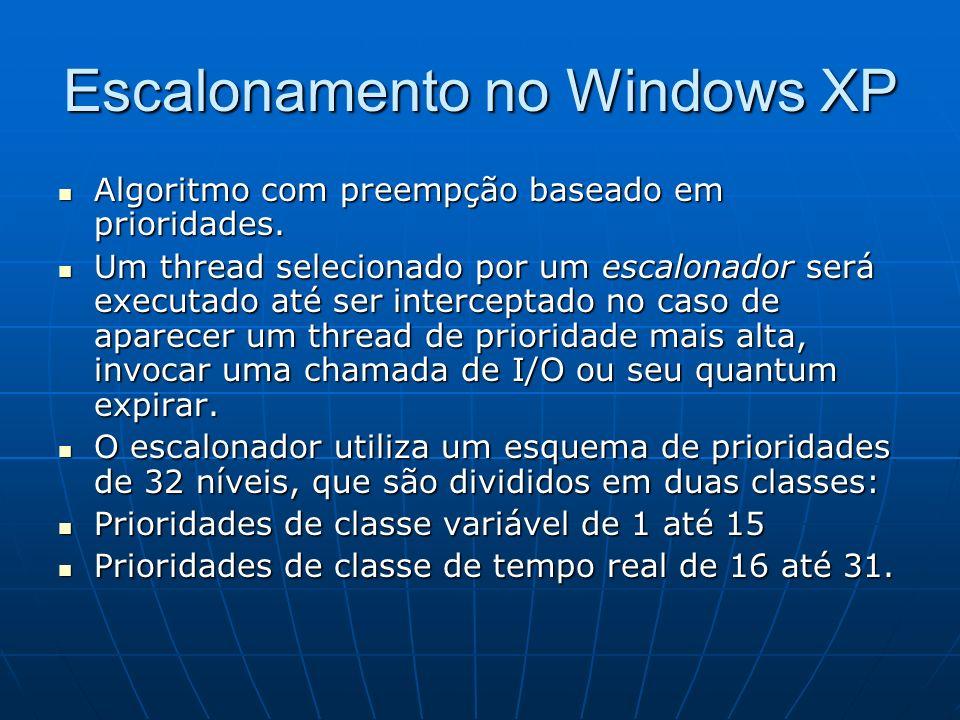 Escalonamento no Windows XP Algoritmo com preempção baseado em prioridades. Algoritmo com preempção baseado em prioridades. Um thread selecionado por