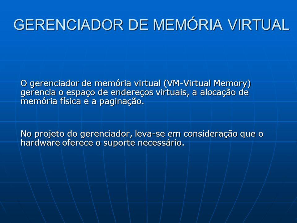 GERENCIADOR DE MEMÓRIA VIRTUAL O gerenciador de memória virtual (VM-Virtual Memory) gerencia o espaço de endereços virtuais, a alocação de memória fís