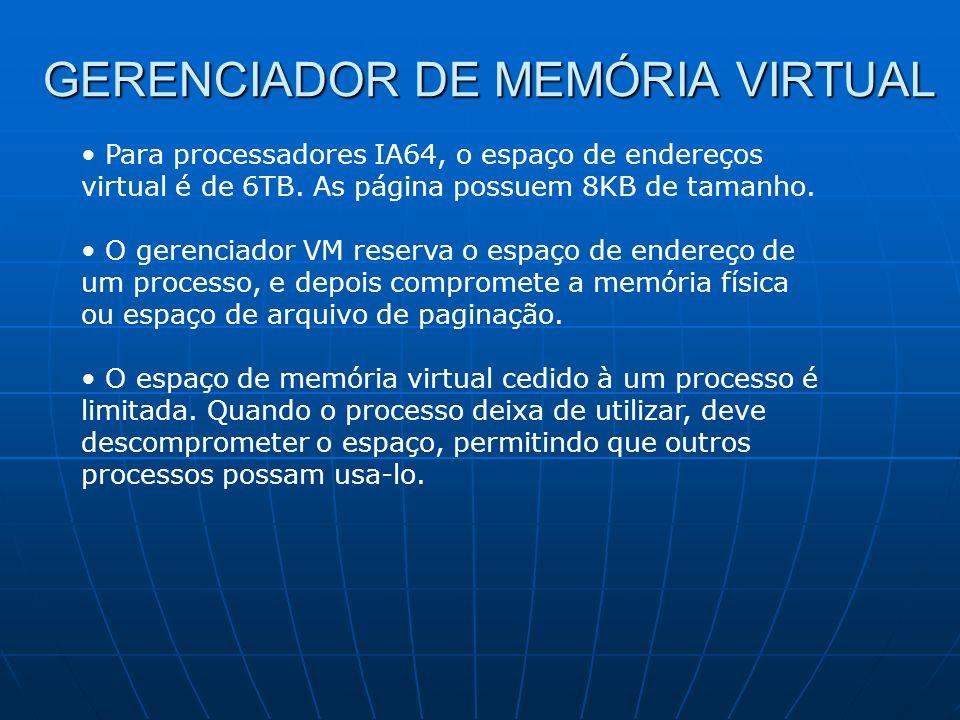 GERENCIADOR DE MEMÓRIA VIRTUAL Para processadores IA64, o espaço de endereços virtual é de 6TB. As página possuem 8KB de tamanho. O gerenciador VM res