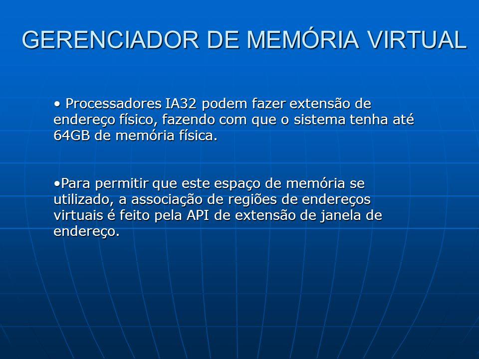 GERENCIADOR DE MEMÓRIA VIRTUAL Processadores IA32 podem fazer extensão de endereço físico, fazendo com que o sistema tenha até 64GB de memória física.