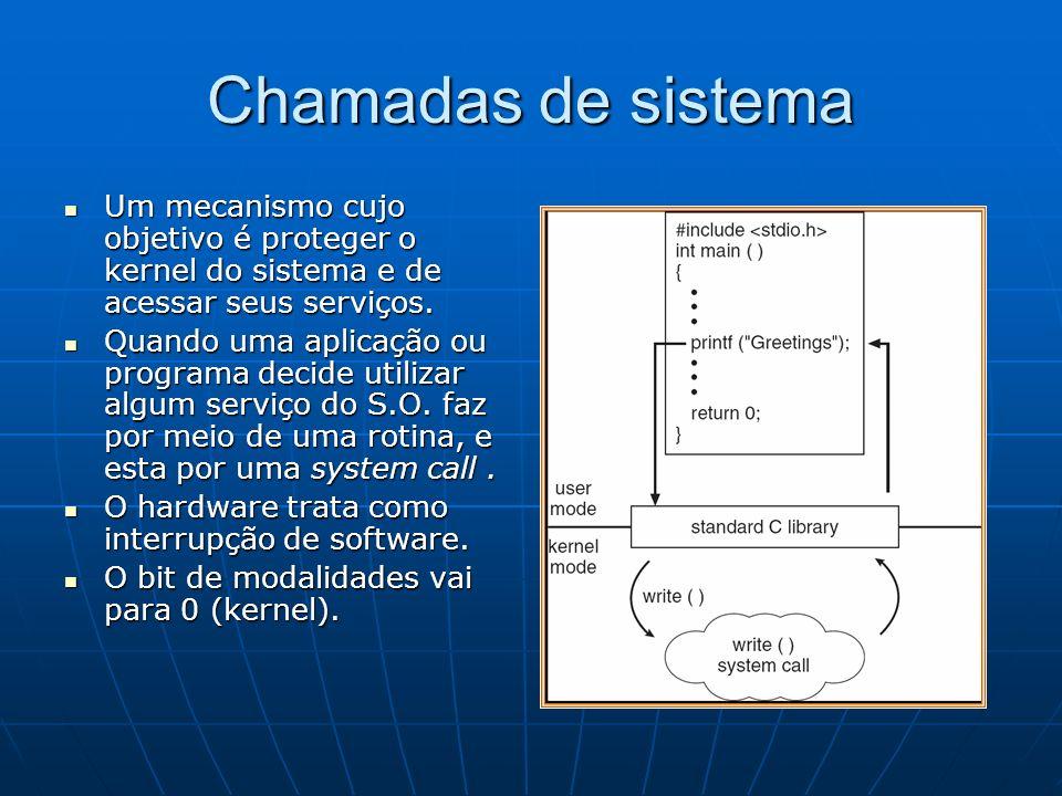 Chamadas de sistema Um mecanismo cujo objetivo é proteger o kernel do sistema e de acessar seus serviços. Um mecanismo cujo objetivo é proteger o kern