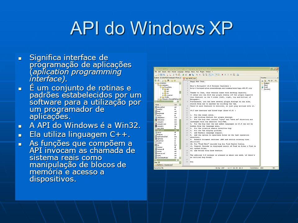 API do Windows XP API do Windows XP Significa interface de programação de aplicações (aplication programming interface). Significa interface de progra