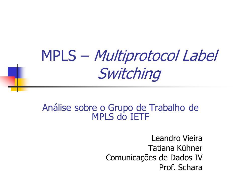 MPLS – Multiprotocol Label Switching Análise sobre o Grupo de Trabalho de MPLS do IETF Leandro Vieira Tatiana Kühner Comunicações de Dados IV Prof. Sc