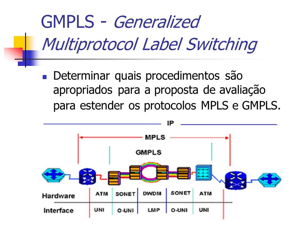 GMPLS - Generalized Multiprotocol Label Switching Determinar quais procedimentos são apropriados para a proposta de avaliação para estender os protoco