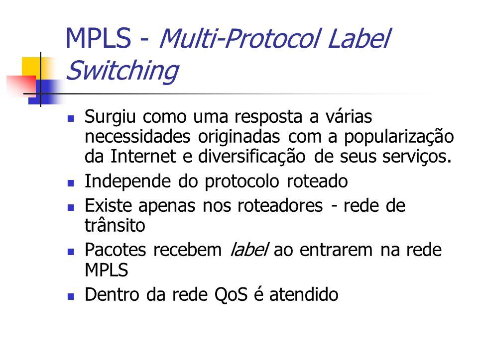 Alguns conceitos MPLS Label - identificador usado para identificar uma FEC, com significado local FEC - representação de um grupo de pacotes que tem os mesmo requisitos para o seu transporte LER - Um nó MPLS que conecta um domínio MPLS com um nó fora deste domínio