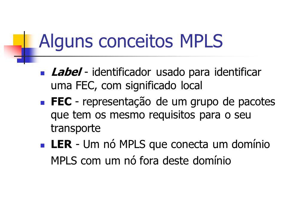 Alguns conceitos MPLS LSR - um nó do MPLS LDF - protocolo pelo qual um LSR informa outro das associações entre label/FEC que ele fez LSP - uma seqüência de rótulos em cada e todos os nós ao longo do caminho da origem ao destino