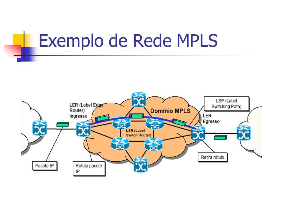 Descrição do Grupo de Trabalho de MPLS do IETF Responsabilidades: Padronizar a tecnologia básica para uso do Label Switching Padronizar a implementação de caminhos com label switching sobre pacotes de diversas tecnologias da camada de enlace Especificar as MIBs (Management Information Base)