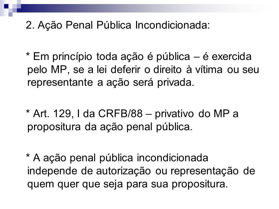 2. Ação Penal Pública Incondicionada: * Em princípio toda ação é pública – é exercida pelo MP, se a lei deferir o direito à vítima ou seu representant