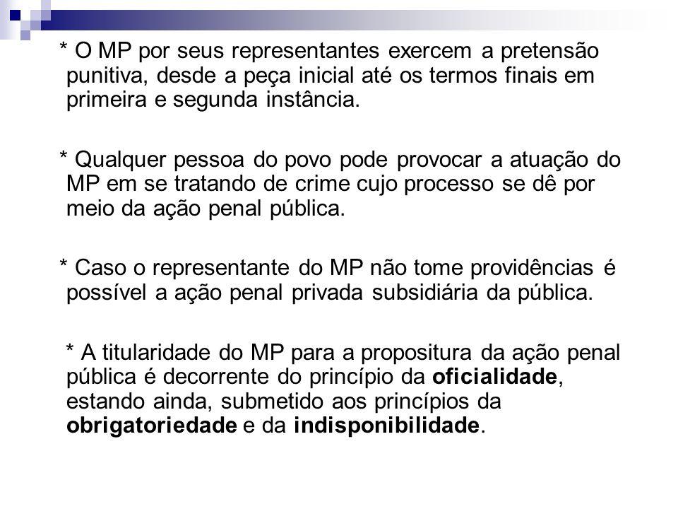 * O MP por seus representantes exercem a pretensão punitiva, desde a peça inicial até os termos finais em primeira e segunda instância.