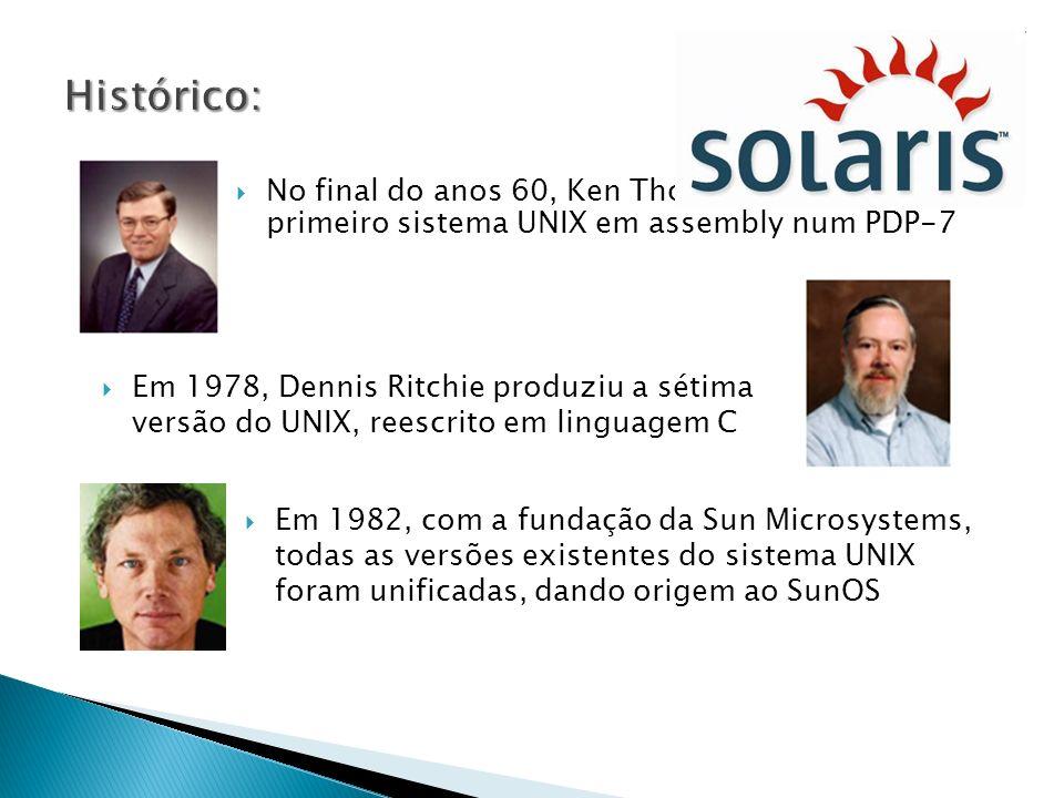 O sistema de arquivos no Solaris funciona como uma hierarquia de diretórios, formando uma árvore, a partir do diretório raiz, onde um dispositivo pode ser montado sobre um ramo de um sistema de arquivos existente para estender a hierarquia.