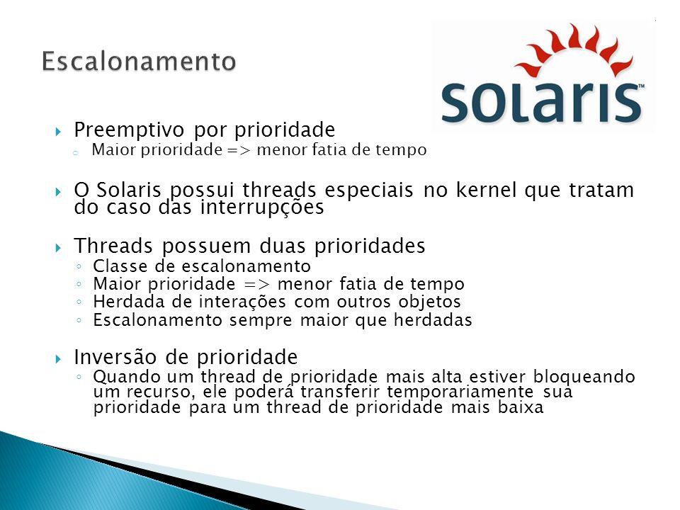 Preemptivo por prioridade o Maior prioridade => menor fatia de tempo O Solaris possui threads especiais no kernel que tratam do caso das interrupções