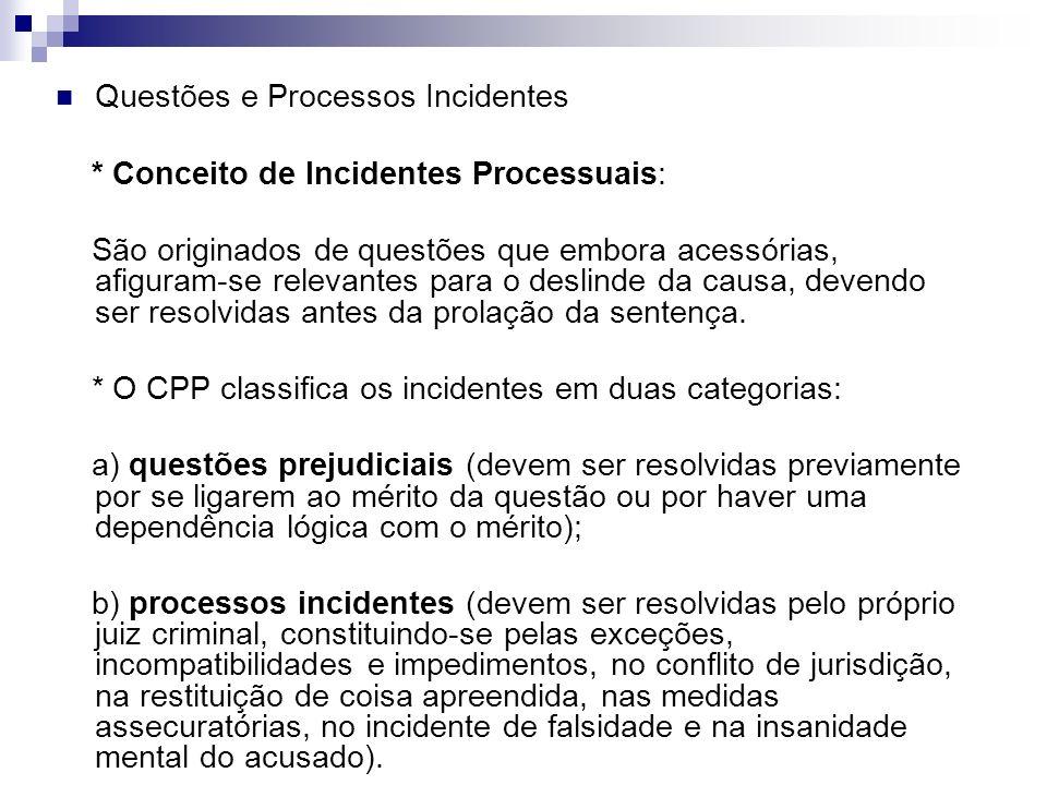 Questões e Processos Incidentes * Conceito de Incidentes Processuais: São originados de questões que embora acessórias, afiguram-se relevantes para o