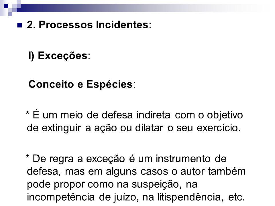2. Processos Incidentes: I) Exceções: Conceito e Espécies: * É um meio de defesa indireta com o objetivo de extinguir a ação ou dilatar o seu exercíci