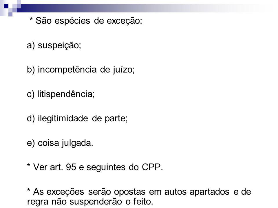 a) Suspeição: * Causas de suspeição art.254 do CPP.